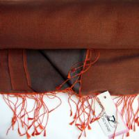 Watersilk Pashmina (Orange & Grey) KK80